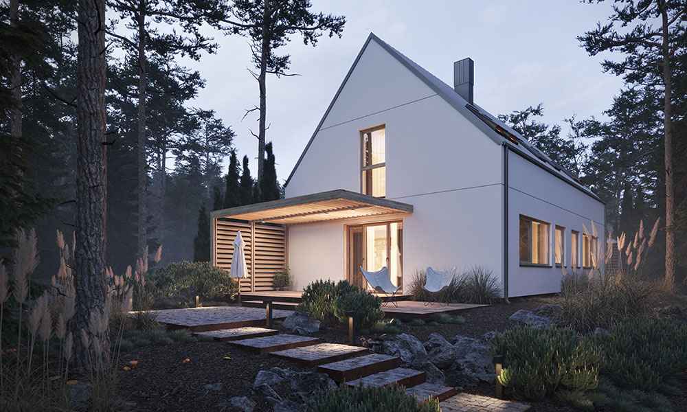 Detta är en byggteknik som skapar hus med en låg energiförbrukning. Vi kan bygga passivhus. Ett prefabricerat hus byggs till största del i en fabrik och inte direkt på byggplatsen. På fabriken styrs produktionen på minsta detaljnivå och medför bättre kvalitetskontroll. Produktionsmetoden är energi- och resurssnål och innebär att en mindre mängd material behöver användas. Produktionen påverkas inte av vädret och därför föreligger inte någon risk för förseningar på grund av väderomslag. Ett prefabricerat hus bidrar även till färre transporter eftersom huset vid frakten levereras med huvudsakligen allt material som behövs till färdigställandet. Vid ett traditionellt byggt hus transporteras materialet i flera olika leveranser. Ditt CO2-avtryck kommer sammantaget att vara mycket mindre när du bygger ett prefabricerat hus.